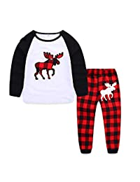 Best for all Holiday Family Matching Fleece Deer Plaid Pajama PJ Sets