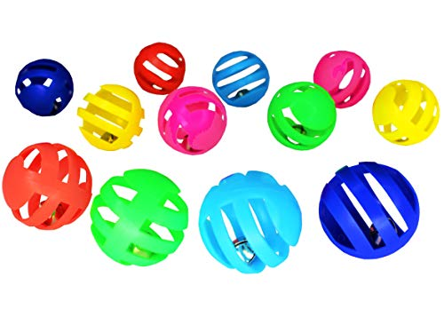 A Miniature Sleigh Cat Toy Balls with Bells – 12 Pack Plastic Kitten Rattle Ball Toys with Jingle Bell Inside