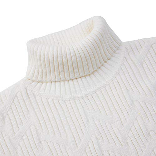 Mens Retro Turtleneck Jumper Sweater Casual Cable Knitted White High Roll Neck Basic Pullover L