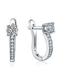 YL Women's Hoop Earrings Sterling Silver Simulated Diamond Medium Huggie Earrings