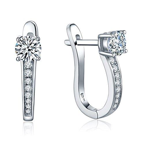 Crystal Hoop Dangle Clip (Valentine's Day Gift-Silver Hoop Earrings Jewelry Women-YL Sterling Silver CZ Cubic Zirconia Hoop Earrings Dangle Drop Charms-Girls White Gold Plated Huggie Hoop Earrings Medium Hoop Earrings)