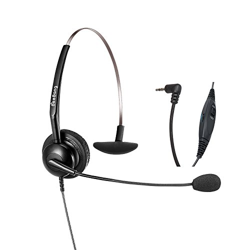 2.5mm Telephone Headset with Microphone Volume Control Phone Headset for Panasonic Cordless Phones with 2.5mm Jack Plus Many Other DECT Phones Polycom Grandstream Cisco Linksys SPA Zultys Gigaset IP
