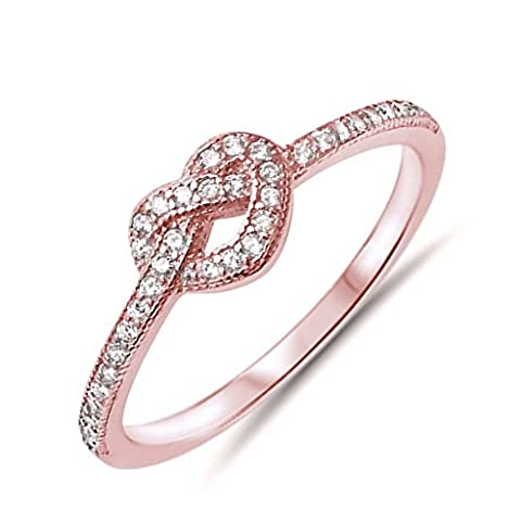Tie the Knot Ring Rose Gold Tone .925 Sterling Silver Cubic Zirconia Ring Size 10 (Rings Cheap Silver)