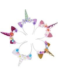 5PCS Glitter Unicorn Horn Headband, Flower Ears Unicorn Headbands for Girls, Birthday Unicorn Party Supplies, Cosplay Costume