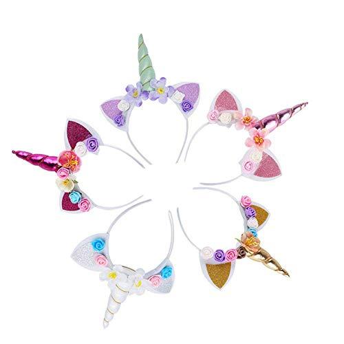 5PCS Glitter Unicorn Horn Headband, Flower Ears Unicorn Headbands for Girls, Birthday Unicorn Party Supplies, Cosplay Costume ()