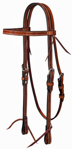 Headstall Barbed Wire (Tough-1 Leather Straight Brow Headstall w/ Barbed Wire Detail - Light Oil)