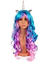 Kaste Women Princess Rainbow Unicorn Wig Long Curly Hair Wigs Halloween Party Cosplay