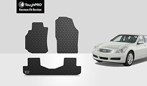 ToughPRO Floor Mats Set (Front Row + 2nd Row) Compatible with Infiniti G35 (Sedan Only) - All Weather - Heavy Duty - (Made in USA) - Black Rubber - 2003, 2004, 2005, 2006