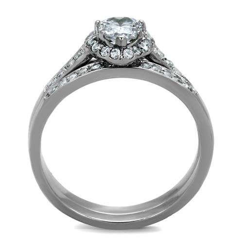 Heart Cut Cz Stainless Steel 2 Piece Wedding Engagement Ring V Band Set Size 5,6,7,8,9 /& 10