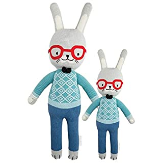 "CUDDLE + KIND Benedict The Bunny Little 13"" Hand-Knit Doll - 1 Doll = 10 Meals, Fair Trade, Heirloom Quality, Handcrafted in Peru, 100% Cotton Yarn"