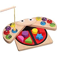 SN Toy Zone High Quality Wooden Magnetic Lady Bird and Geometric Shapes Puzzle Blocks Sorter Set