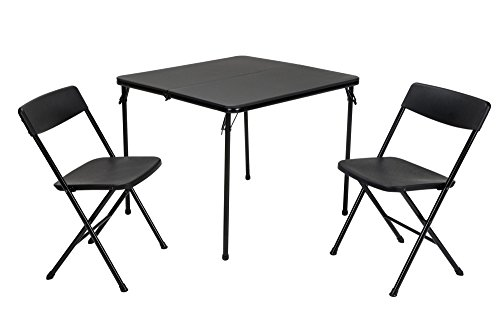 COSCO 3 Piece Indoor Outdoor Center Fold Table and 2 Chairs Tailgate Set, Black
