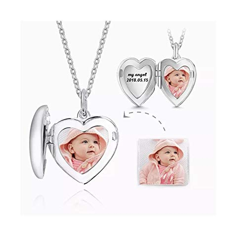 Personalized 925 Sterling Silver Heart Locket Picture Pendant Charm Necklace Custom Any Photo for Family