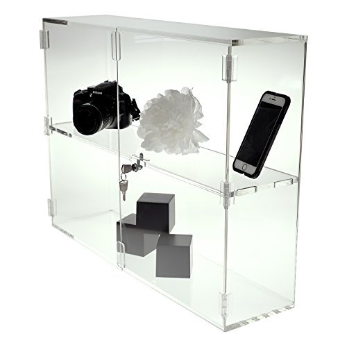 Source One Deluxe Clear Acrylic Shelf Countertop Organization Display Case (Large, 1 Shelf)