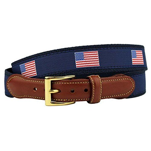 USA Loves Freedom, Hates Terror American Flag Leather Tab Belt in Navy by Country Club Prep (Prep Tab E)