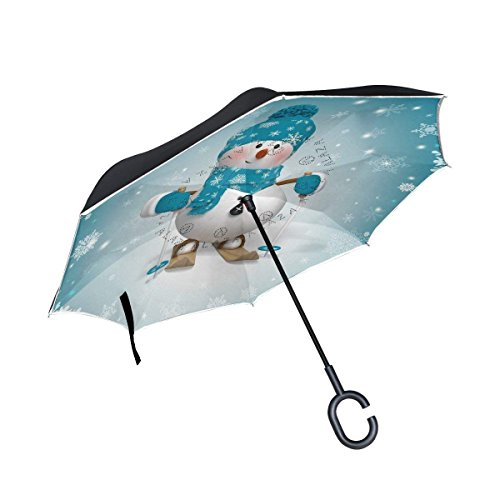 MAOXUXIN Christmas 3D Snowman Snowflake Inverted Umbrella, Large Double Layer Outdoor Rain Sun Car Reversible ()