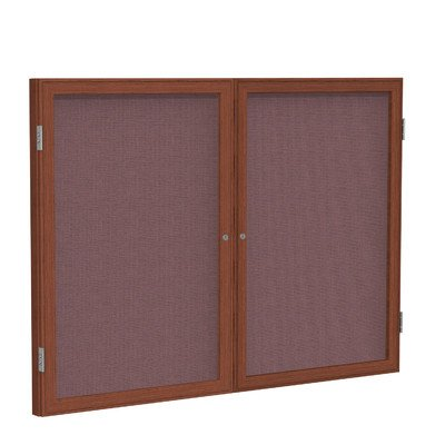 - 2 Door Enclosed Bulletin Board Frame Finish: Cherry, Surface Color: Merlot, Size: 3' H x 4' W