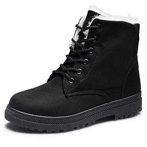 CIOR Women's Winter Boots Warm Suede Lace up Snow Boots 2018 Waterproof PU Shoes - stylishcombatboots.com