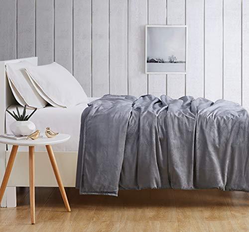 Cheap London Fog Velvet 15 lb Weighted Plush Blanket Grey Black Friday & Cyber Monday 2019