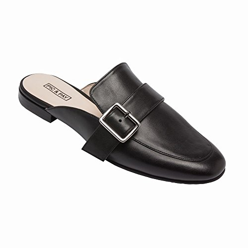PIC/PAY Dacia - Women's Leather Buckle Mule - Backless Slip-On Flat Leather Loafer Black Leather