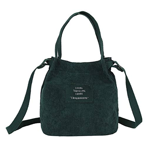 Lamdoo Vintage Women's Corduroy Handbag Shoulder Messenger Bag Satchel Tote Purse Crossbody Bags Green
