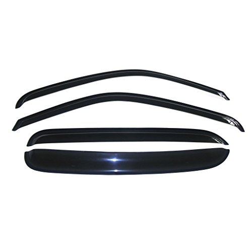 VioGi Fit 92-00 Chevy/GMC C/K 1500/2500/3500 Crew Cab Pickup 92-99 Suburban 95-99 Tahoe/Yukon 99-00 Cadillac Escalade 4pcs Front + Rear Smoke Sun/Rain Guard Vent Shade Window Visors
