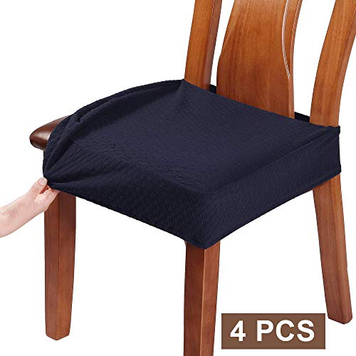 BUYUE Dining Room Chair Covers Washable Jacquard Stretch Seat Cushion Protector for Upholstered Chair Slipcover (Style B,Set of 4, Navy Blue)