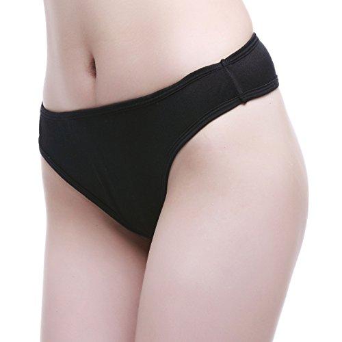 NWT One Pair Silk Knit Lingerie Women Thong Panties[USL,Black]