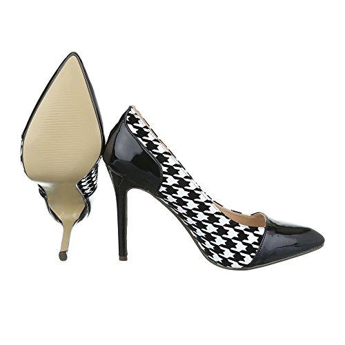 Ital-Design - Plataforma Mujer negro blanco