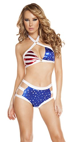 Sexy Cage Strap American Flag Vintage Labor Day Hot Pants Bikini - Red/White/Blue - Medium/Large