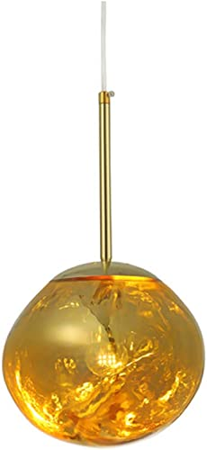 RUNNUP Modern Pendant Light Creative Single Light 12 Hanging Lamp with Melt Glass Shade in Gold for Dining Rooms,Living Room