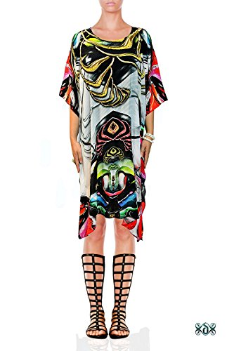 - Devarshy Intricate Modern Art Digital Print Pure Silk Short Embellished Designer Kaftan