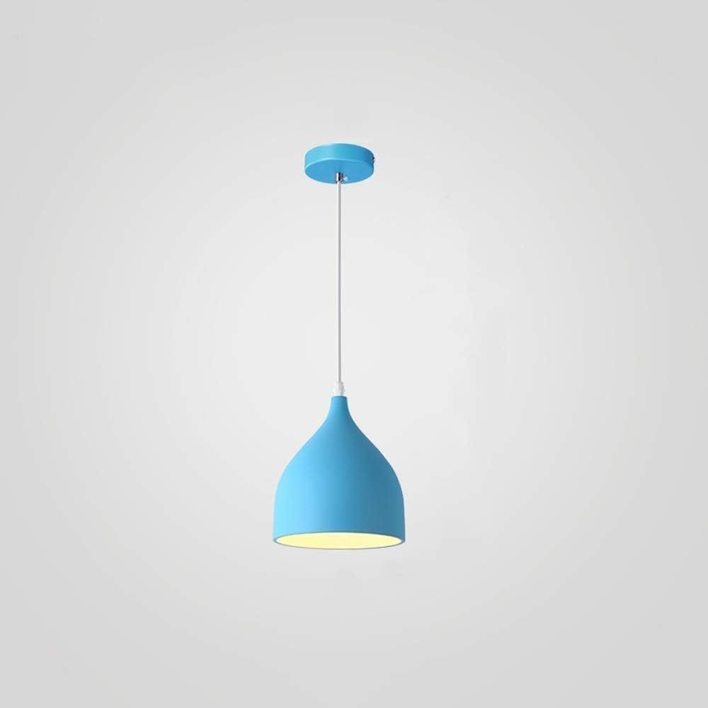 Radciy Modern Simple Iron Art Restaurant Pendant Light Nordic Creative Metal Macaron Hanging Lamp E27 Bedroom Study Bar Cafe Stairs Decorative Chandelier Color : Blue