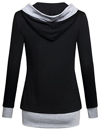 Miusey Pullover Hoodie, Women Long Sleeve Cute Pullover Hit Color Kangaroo Pocket Top Sweater T-Shirt Plus Size Plain Supreme Native X-Large Black by Miusey (Image #1)