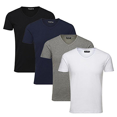 JACK & JONES Herren T-Shirt Basic V-neck Tee S/S Noos, Einfarbig, Größe:S;Farbe:4er Pack V-Neck MIX