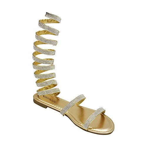 1ce73010dc11 Bamboo Womens Open Toe Coil Spiral Strappy Leg Wrap Jeweled Rhinestone Flat  Sandals 8.5 Gold - Buy Online in Oman.