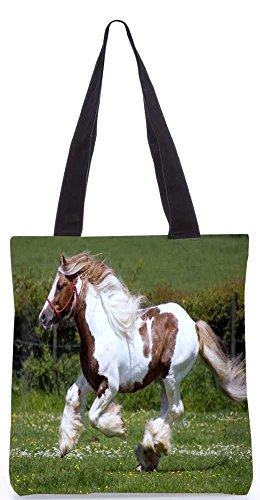 """Snoogg Haarigen Pferde Einkaufstasche 13,5 X 15 In """"Einkaufstasche Dienstprogramm Trage Aus Polyester Leinwand"""