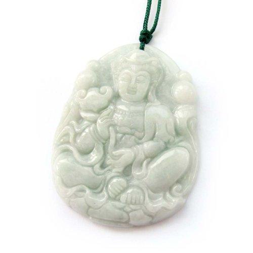 OVALBUY Jadeite Jade Buddhist Mercy Kwan-yin Amulet Pendant
