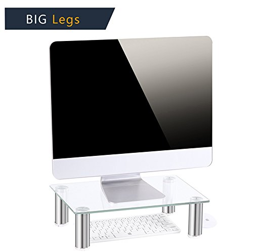 TAVR Clear Computer Monitor Stand Desktop Riser with Tempered Glass Chrome Aluminum Legs for Flat Screen LCD LED TV, Laptop/Notebook/Xbox One CM2002 - Aluminum Lcd Stand
