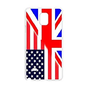 Cheap phone case, USA mixed United Kingdom flag pattern for white plastic SamSung Galaxy Note4 case