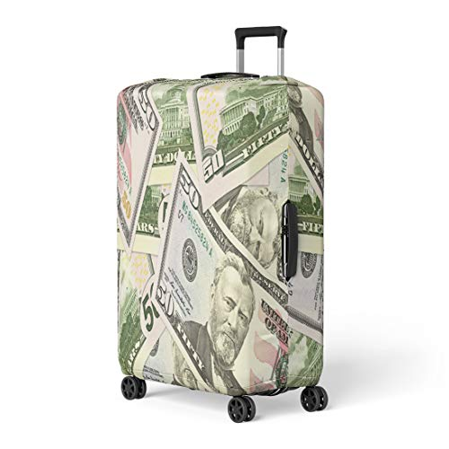 Pinbeam Luggage Cover Crisis Some 50 Us Dollar Bank Notes Banking Travel Suitcase Cover Protector Baggage Case Fits 18-22 inches