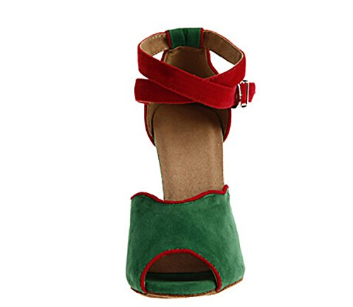 Green Latin Dance Leather Ankle Strap Women's Minitoo Sandals Suede TH052 Wedding Buckle Taogo Ballroom zqOYW4R