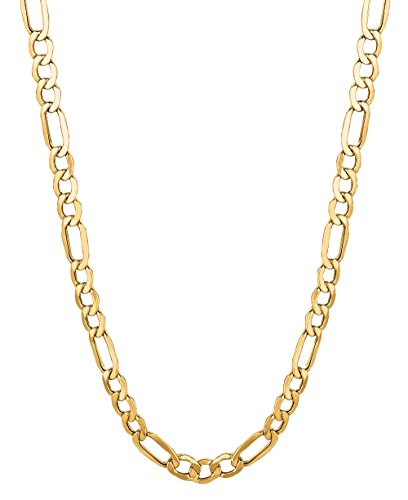 14Kt Solid Yellow Gold Classic Figaro Lite Curb Link Chain/Necklace 5.4 Mm (Lfig120 14kt Gold Curb Link Necklace