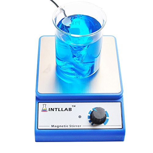 (INTLLAB Magnetic Stirrer Stainless Steel Magnetic Mixer with stir bar (No Heating) Max Stirring Capacity: 3000ml )