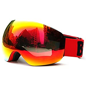 Benice Ski Goggles- Frameless Anti-fog Lens UV400 Pretcetion for Men, Women & Youth