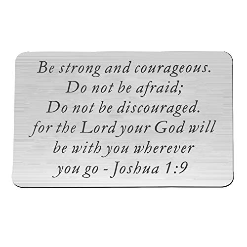 QIIER Christian Keychain Be Strong and Courageous Joshua 1:9 Bible Verse Dog Tag Pendant Keychain Religious Jewelry Inspirational Gifts (Wallet Card Insert) -