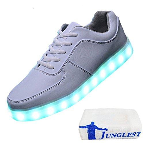 (Present:kleines Handtuch)JUNGLEST JUNGLEST(TM) 7 Farbe USB Aufladen LED Leuchtend Sport Schuhe Sportschuhe Sneaker Turnschuhe für Unis Weiß