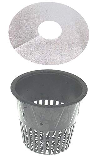 3.75 Inch Net Cup Pack of 24, Heavy Duty Plastic Mesh Pot 4 in Wide Lip Top w Free Reflective Net Pot Lids to use in Hydroponic Aeroponc and Aquaponic Systems (24 Set)