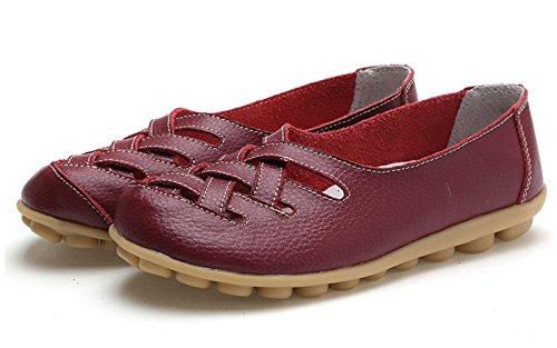VenusCelia Damen Comfort Walking Casual Flacher Loafer Burgund / Wein