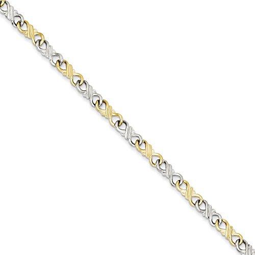 10K Or bicolore massif poli Fancy-Bracelet Femme-Homard Griffe-18cm